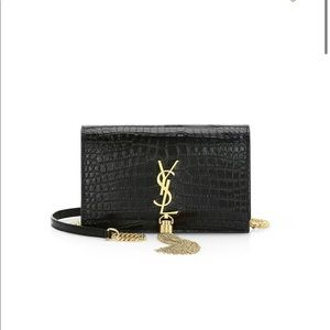 RARE YSL Black/Gold Croc Embossed Wallet on Chain